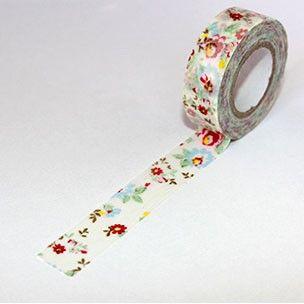 Washi Tape blanco con flores