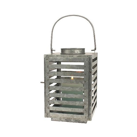 Galvanized Metal Slated Lantern, Medium Silver ($30) ❤ liked on Polyvore featuring home, home decor, candles & candleholders, medium silver, silver lantern, metal candlestick holders, colored votive candles, metal candle holder and silver candleholder