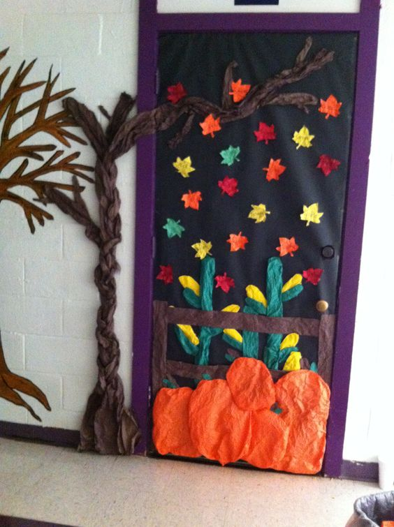 Fall classroom door decoration. All my student names are on the leaves