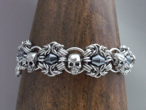 Skull and Hemitite Romanov Chainmaille Cuff by Pharewings
