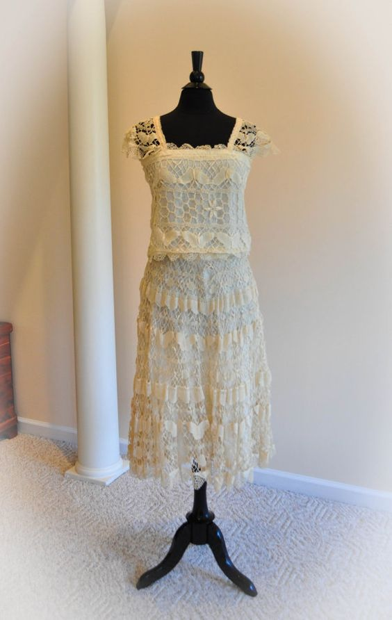 Butterfly Lace Skirt and Top Size 5 by VillageVintageThrift, $122.00