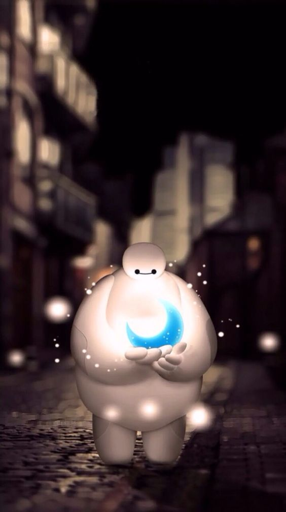 Baymax with a blue moon