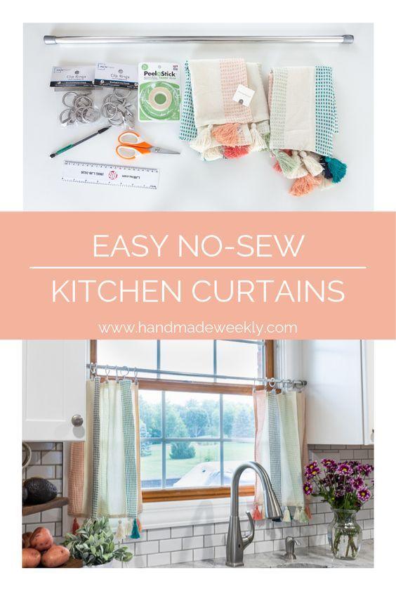 No Sew Kitchen Curtains Kitchen Curtains Diy Curtains Curtains