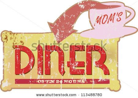 Vintage diner sign, vector illustration, scalable to any size - stock vector