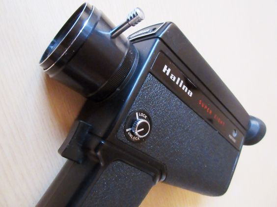 Halina Super 8 film camera from the 1970's.  When I was a child this was the camera used for capturing family events.  Came with two old Ever Ready's in the battery compartment but I have no idea if this camera works.  I think they used Super 8 cartridges for filming but I'm sure they must be very rare now.
