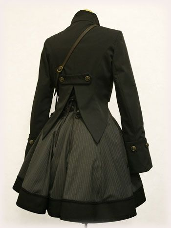 Nicely tailored Steampunk jacket & skirt.