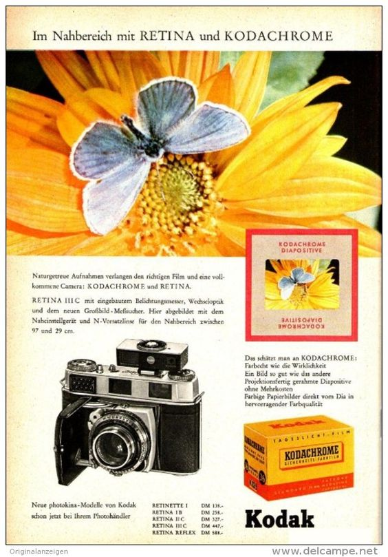 Original-Werbung/ Anzeige 1958 - KODAK RETINA KAMERA / KODACHROME FILM - ca. 150 x 230 mm