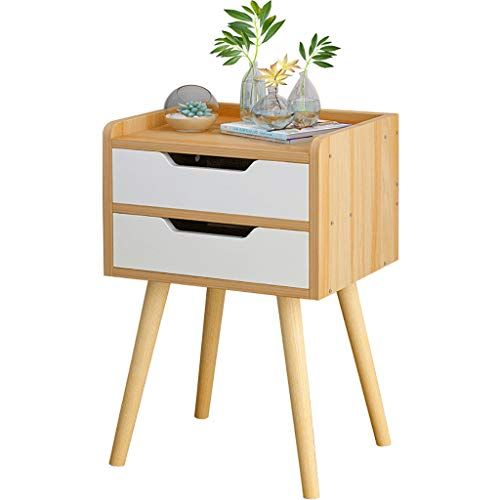 Wood Nightstand w// 2 Drawers Bedside Table Cabinet Bedroom Side Table White