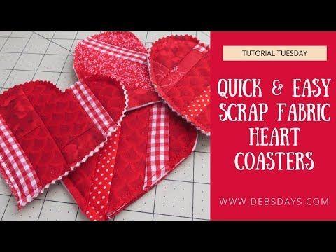 Hearts Valentines Mug Rug Quilted Drink Coaster