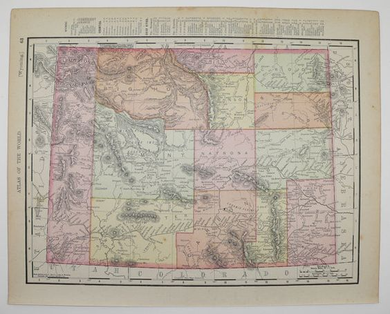 Vintage Colorado Map Utah Map  Western US State Map Antique - 1896 map of us