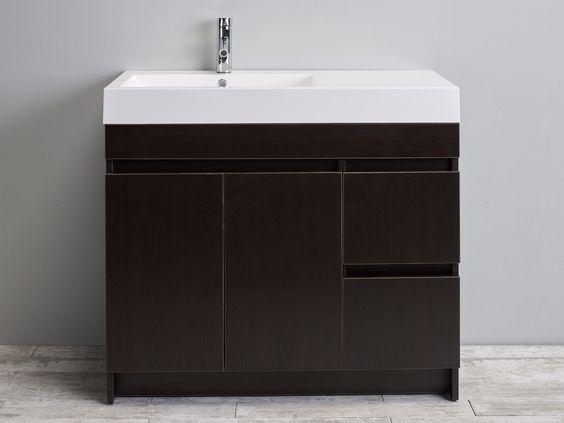 "Eviva Beach 39"" Wenge Brown Bathroom Vanity Set w/ Integrated White Acrylic Sink"