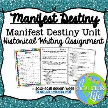 manifest destiny 4 essay You have not saved any essays the manifest destiny was the name given by the aggressive anglo-american expansion of the west the advocates of the manifest destiny believed that white americans were special people they believed it was god's will for americans to populate the continent and spread.