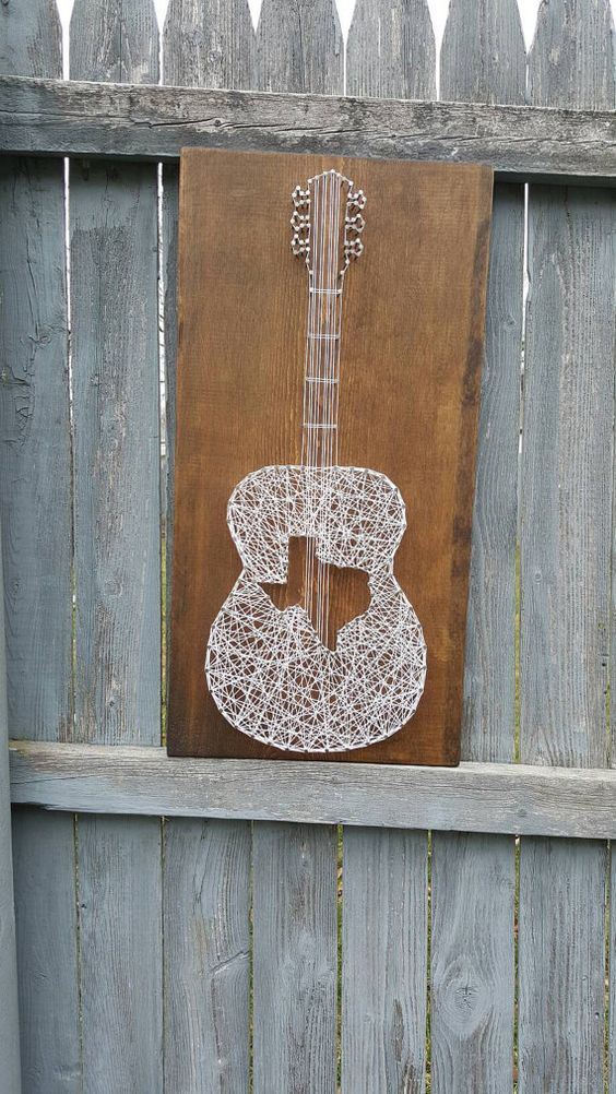 Texas Acoustic Guitar String Art