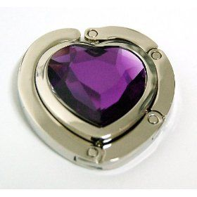 Purple Amethyst Crystal Heart Foldup Hand Bag Purse Hook Hanger