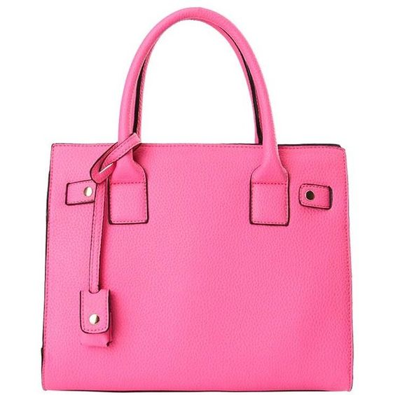 Fuchsia Faux Leather Top Handle Stylish Tote Handbag ($24) ❤ liked on Polyvore