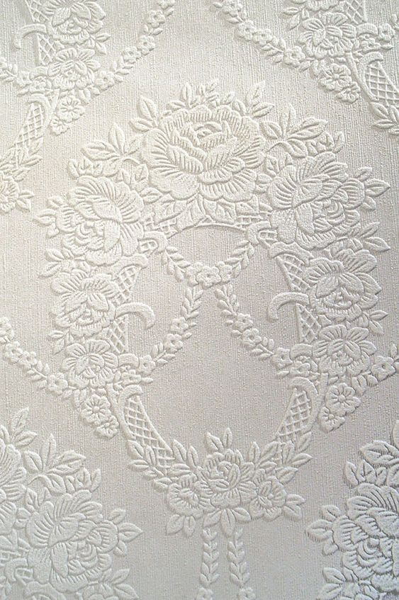 Vintage Embossed Paintable Wallpaper By The Yard White