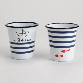 Gobelet en emaille motif poisson et rayure blanc/bleu - Set de 2 MALO