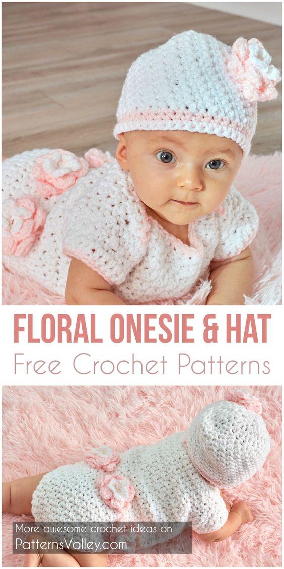 Floral Onesie & Hat  Free Crochet Patterns #crochetpattern #babyshowerideas #crochet #flowers #motif #freecrochetpatterns #giftidea #diy
