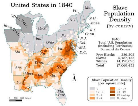 C Southern Population Percentages Of Whites Slaves And - Map of the us in 1840