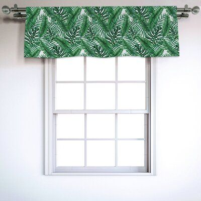 East Urban Home Ambesonne Palm Leaf Window Valance Watercolor