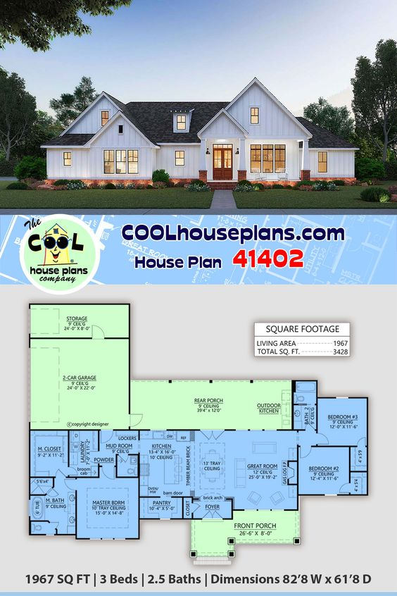 Traditional Style House Plan 41402 With 3 Bed 3 Bath 2 Car Garage Farmhouse Plans House Plans Farmhouse Best House Plans Traditional style house plan 41402