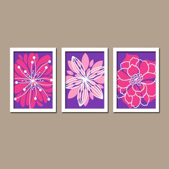 Pink Purple Wall Art Baby Girl Nursery Canvas Wall by TRMdesign