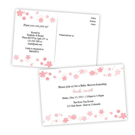 Baby Shower Invitation Postcard - Coral Flowers - DIY Printable - postcard format template