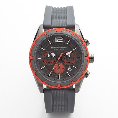marc anthony gunmetal stainless steel silicone chronograph
