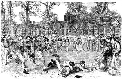 Rugby. Victorian picture showing a game of rugby football at Rugby School. In the foreground one boy has just tackled another, but the ball is rolling towards the crowd of spectators, scaring a little girl. Download high quality jpeg for just £5. Perfect for framing, logos, letterheads, and greetings cards.