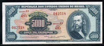 Currency of Brazil - Brazilian banknotes - 5000 Cruzeiros banknote, Republica Dos Estados Unidos Do Brasil - 5000 Cruzeiros, (1ª Estampa, 1963 -1964 issue) Pick 174.