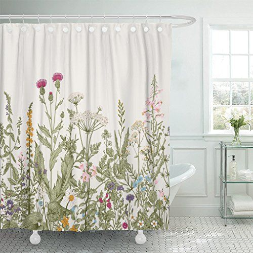 Tompop Floral Border Herbs And Wildflowers Vintage Shower Curtain In 2020 Floral Shower Curtains Vintage Shower Curtains Flower Shower Curtain