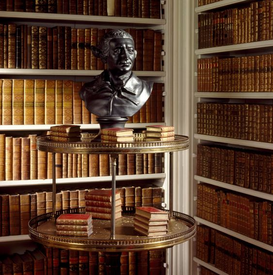 Black basaltes ware bust of the actor David Garrick, on a dumb waiter in the Book Room at Wimpole Hall