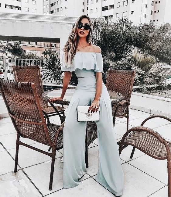 Cute gray off the shoulder jumpsuit.