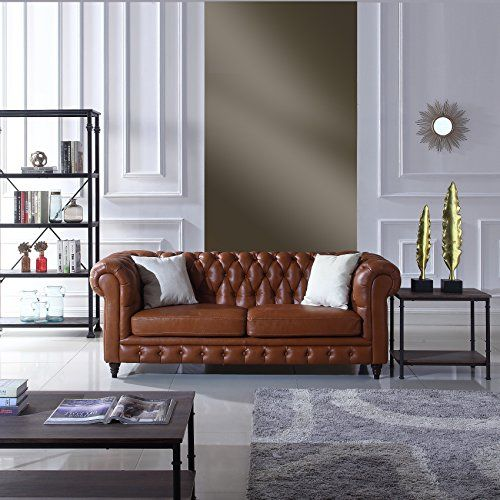 Classic Scroll Arm Real Italian Leather Chesterfield Sofa