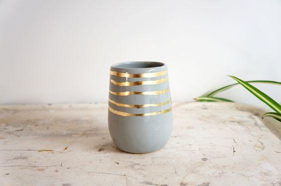 Gray + Gold Stripes Cylinder Vase on @Brika Lyga Lyga Lyga