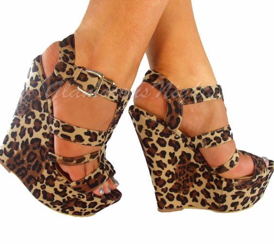 strappy high heels evening sandals | LADIES STRAPPY LEOPARD ANIMAL PRINT PLATFORM PEEP TOE HIGH WEDGE SHOES ...