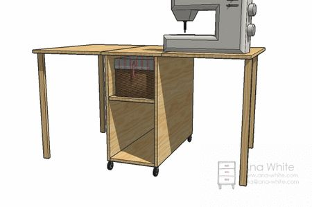 I want to make this!  DIY Furniture Plan from Ana-White.com  The perfect spot for a part time sewing enthusiast! Tucks neatly way, expands out to be a cutting or layout mat. Please note that this table is not intended for use with the sewing machine unless locking hardware is installed on the fold out legs and tabletop.