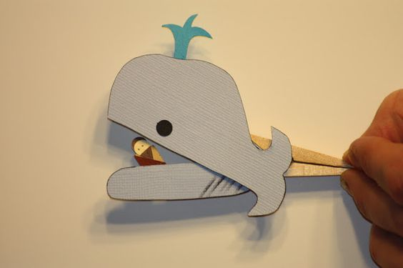 Jonah & the whale clothespin puppet