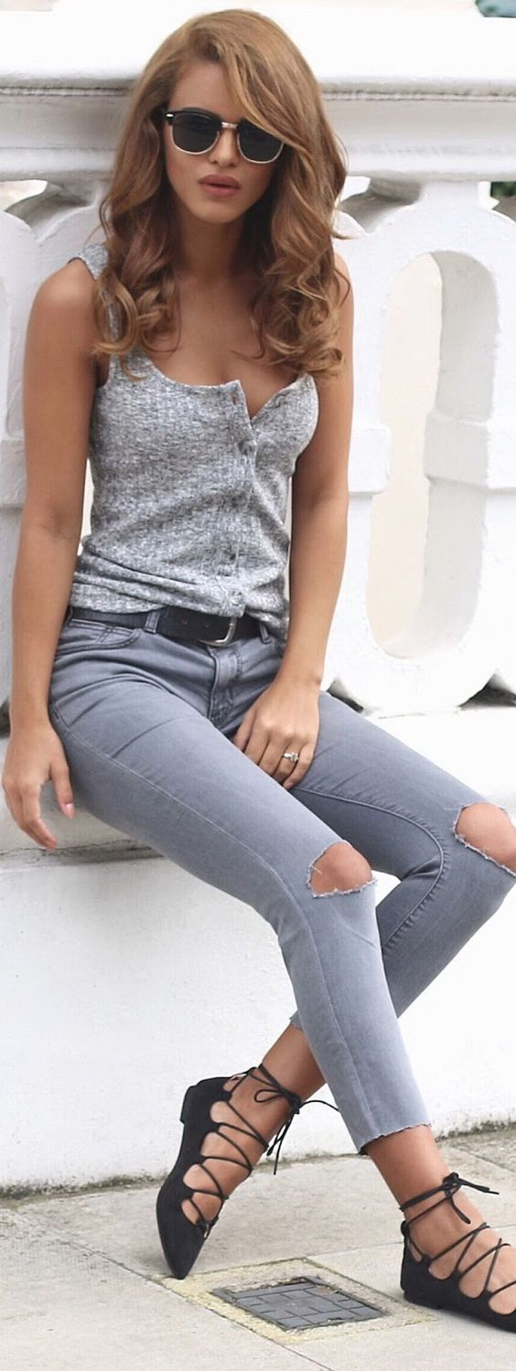 Gray Ripped Jeans / Lace Up Pointed Flats