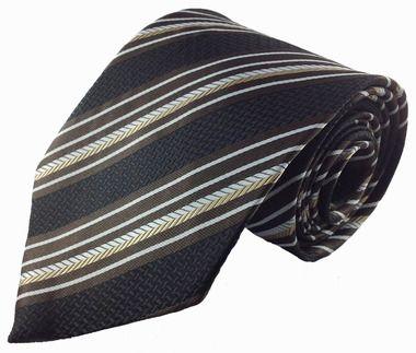 Black Brown and Gold Stripe Silk Necktie