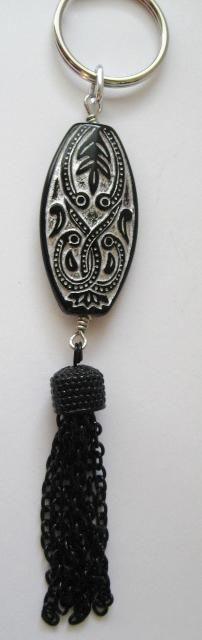 Black & Silver Bead With Chain Tassel Key Chain/Purse Clip/Jean Clip $6.50
