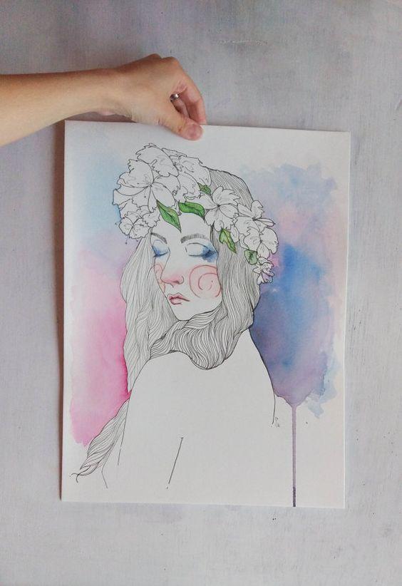 Sueño - Acuarela y tinta sobre papel