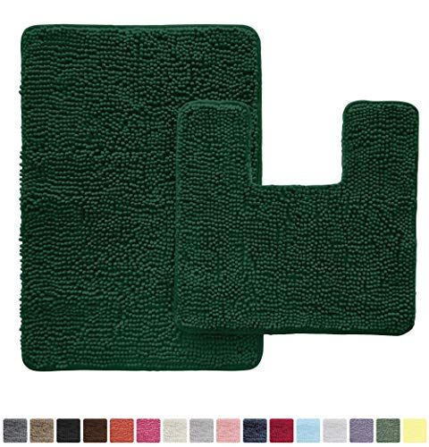 Gorilla Grip Original Shaggy Chenille 2 Piece Area Rug Set Includes Square U Shape Contour Toilet Mat 30x20 Bathroom Rugs Machine Wash Dry Mats Plush Rugs In 2020