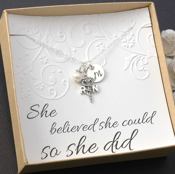 RN Registered Nurse Necklace - Sterling Silver Initial Charm, Pearl or Birthstone by DivineJewelrybyMary on Etsy https://www.etsy.com/listing/187112564/rn-registered-nurse-necklace-sterling