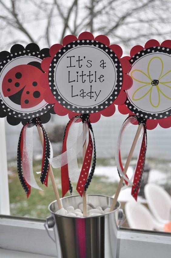 3 Centerpiece Sticks Ladybug Personalized  by sosweetpartyshop, $10.00