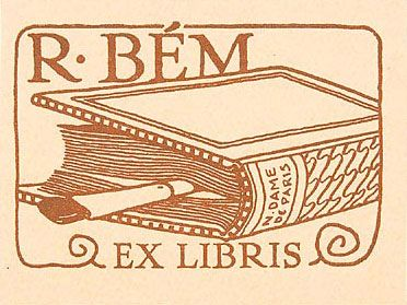 bookplate for R. Bem ... depicts artist's brush stuck in book as bookmark