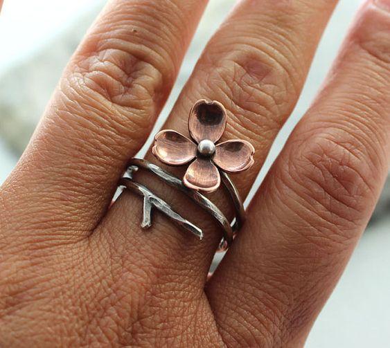 Dogwood Flower Adjustable Branch Ring Twig ring