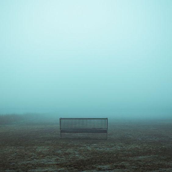 Bank im Nebel auf einem Feld.