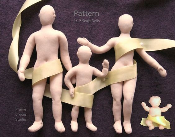 Download PDF 1:12 scale cloth doll family pattern tutorial ...