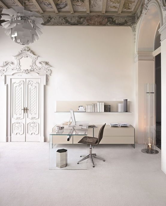 Modern furniture set in period details interior.